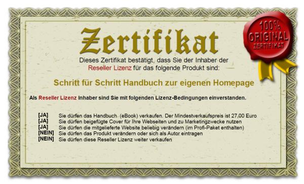 Zertifikat - Reseller Lizenz zum Handbuch